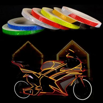 Bike Motorcycle Micro Prismatic Sheeting Reflective Tape 1.0CM x 8M (SBK-541230)