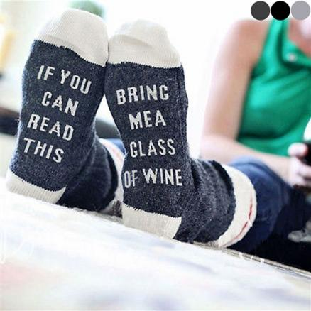 Fun Christmas IF YOU CAN READ THIS BRING ME A GLASS OF WINE Cotton Tube Sock (DST-539362)