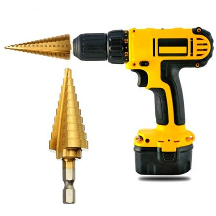 HSS 4-22mm Hex Titanium Steel Step Drill Bit Hole Cutter Wood Drilling (NLC-527662)
