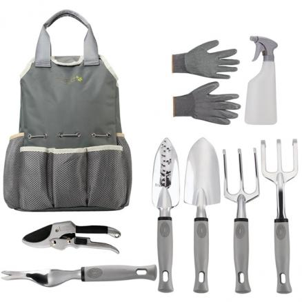 9pcs Garden Tools Set with Garden Gloves Storage Tote Trowel Pruners Clippers (NLC-542557)