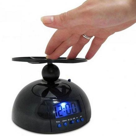 Digital LED UFO Flaying Alarm Clock Gadget Run Away Flying Helicopter Propeller (HHI-541798)