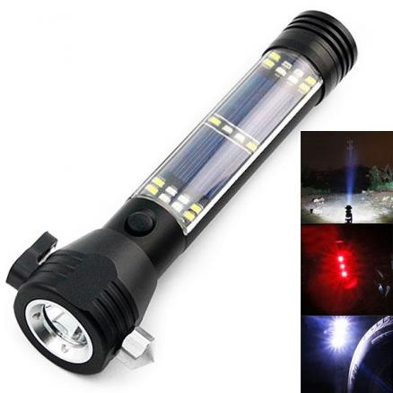 Rechargeable LED Solor Flashlight 7 Modes USB Torch Lamp (S-516621)
