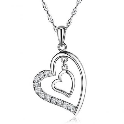 925 Sterling Silver Pendant Double Heart Imitated Crystal Necklace (DJA-508178)
