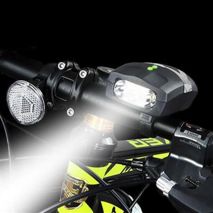 3 LED Bike Bicycle Front Headlight Electronic Bell Horn Hooter Siren (SBK-525011)