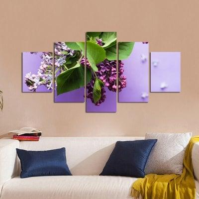 W328 Flowers Unframed Wall Canvas Prints for Home Decorations 5PCS