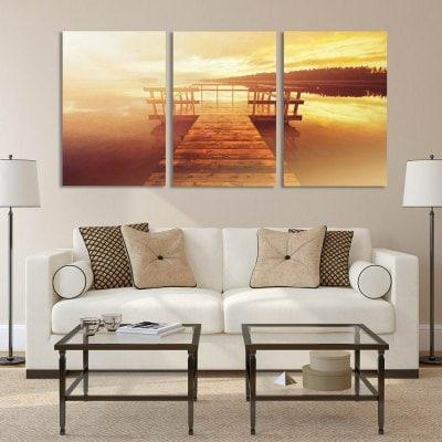 W290 Lake Scenery Unframed Art Wall Canvas Prints for Home Decorations 3 PCS