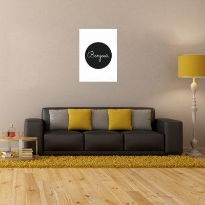 W277 Unique Bonjour Letters Unframed Art Wall Canvas Prints for Home Decoration