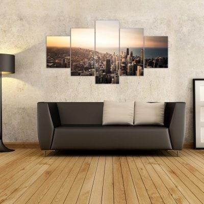 W314 View of the City Unframed Wall Canvas Prints for Home Decorations 5PCS