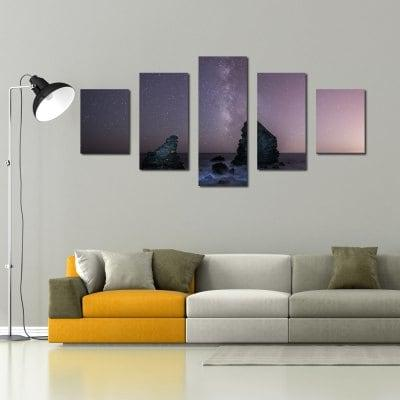 W345 Peaks Under The Stars Unframed Wall Canvas Prints for Home Decorations 5PCS
