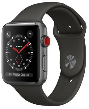 Apple Watch Series 3 Cellular 42mm Space Gray Aluminum Case with Gray Sport Band MR2X2