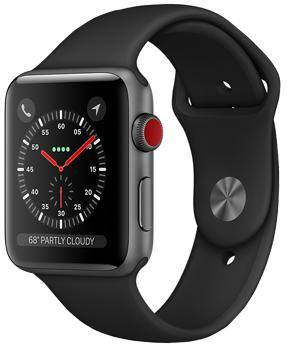 Apple Watch Series 3 Cellular 42mm Space Gray Aluminum Case with Black Sport Band MQK22