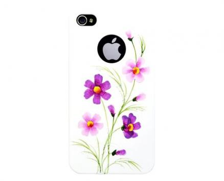 Панель для iPhone 4/4S iCover Wild Flower White/Purple