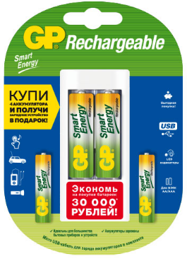 GP PowerBank+ AA 1000mAh 2шт. + AAA 400mAh 2 шт.