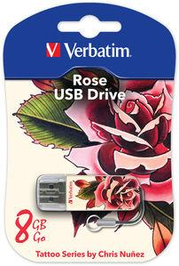 USB флешка 8Gb Verbatim 8Gb Store n Go Mini Tattoo Rose 49881