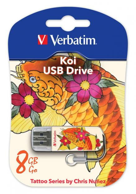 USB флешка 8Gb Verbatim 8Gb Store n Go Mini Tattoo Koi 49882