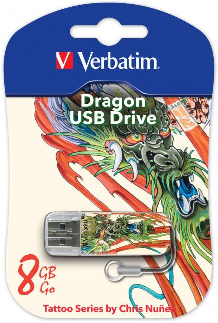 USB флешка 8Gb Verbatim 8Gb Store n Go Mini Tattoo Dragon 49884